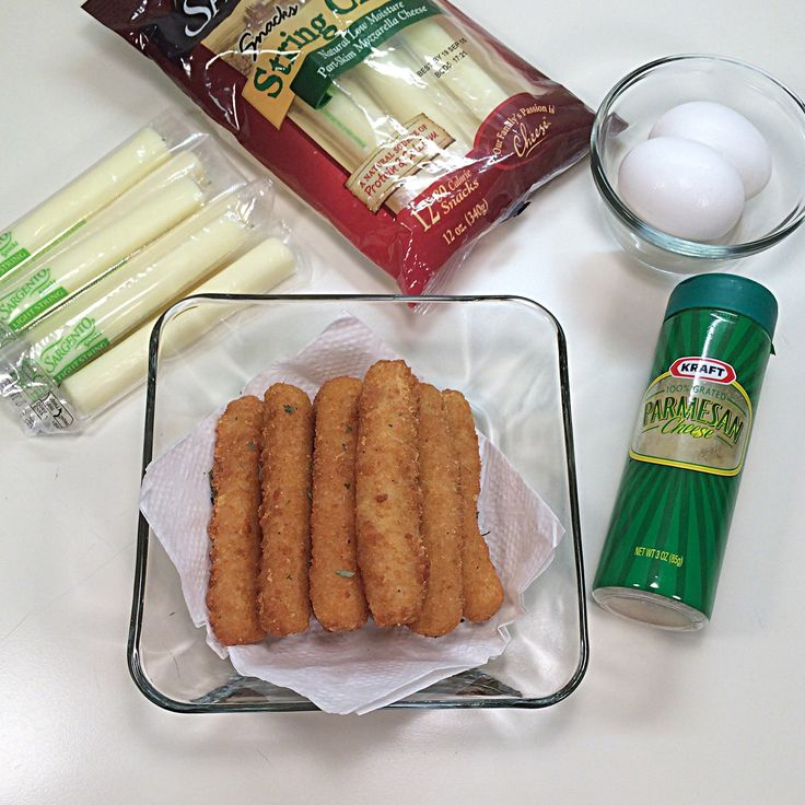 Image Recipe Ingredients 8  mozzarella cheese sticks 2 eggs 2 cup grated Parmesan cheese oil for frying Directions Create a work station that will have a place to dip the cheese stick in the eggs, ...