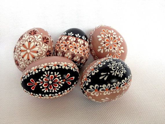 Set of 5 Brown Hand Decorated Colours Painted by VeryAndVery