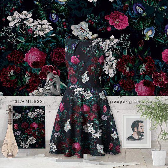 Night Garden VIII Seamless Pattern #botanical #patterns #design #wallpapers