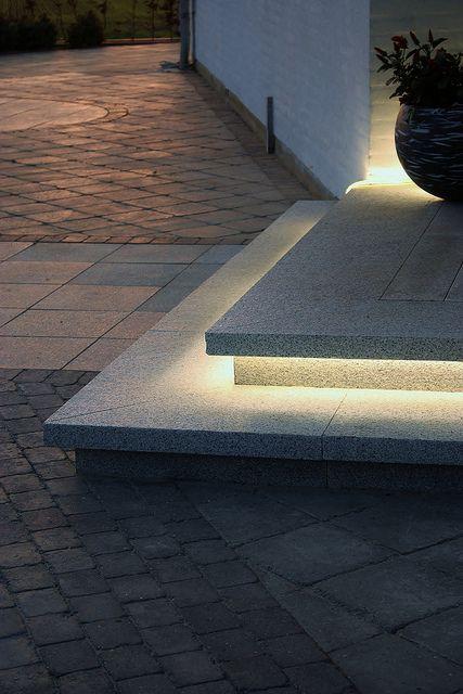 Great idea LED lights under steps...lighting the way.