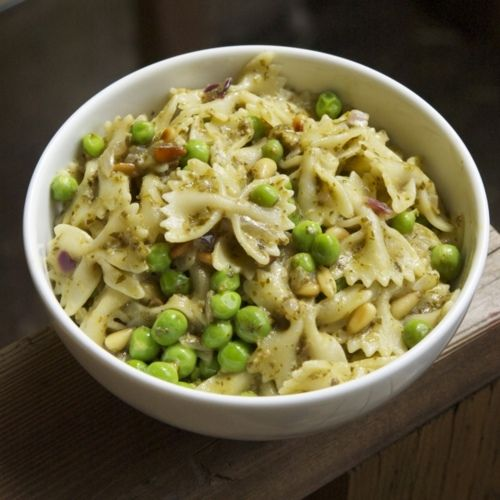 Farfelle Pasta With Peas, Parmigiano-Reggiano, and Pine Nuts
