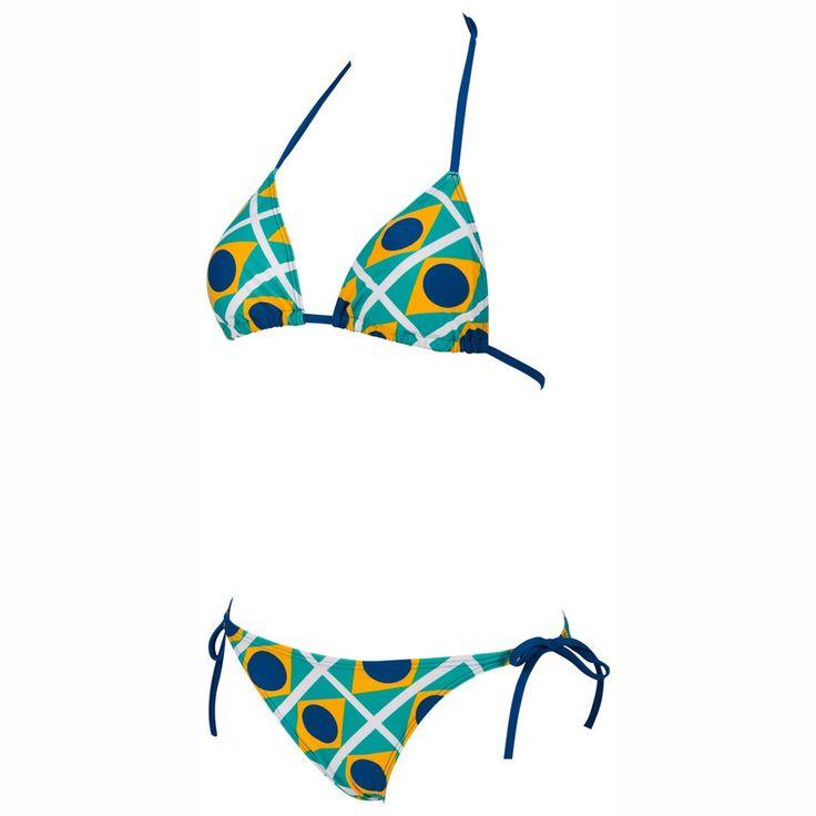 ¡Cómpralo ya!. Bikini. 2 prendas triángulo con motivo estilo bandera de Brasil WATERFEEL X LIFE. Parte superior con relleno desmontable, para anudar al cuello, y bragueta para anudar a los lados: ultra strech para el máximo confort. Con memoria de forma - RIO TRIANGLE. 80% poliamida, 20% elastán. , bikini, bikini, biquini, conjuntosdebikinis, twopiece, bikini, bikini, bikini, bikini, bikinis. Bikini  de mujer color amarillo de Arena.