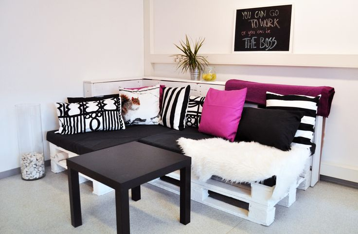 Happines is a comfy sofa - and this masterpiece is self-made pallet sofa with also self-made cushions