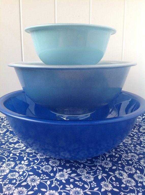Vintage Pyrex Mixing Bowls, Vintage Pyrex, Blue Pyrex
