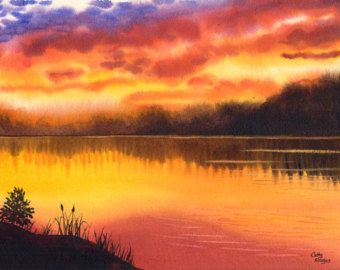 Sunset Watercolor Original Painting By Cathy HIllegas Lake Landscape Yellow Red
