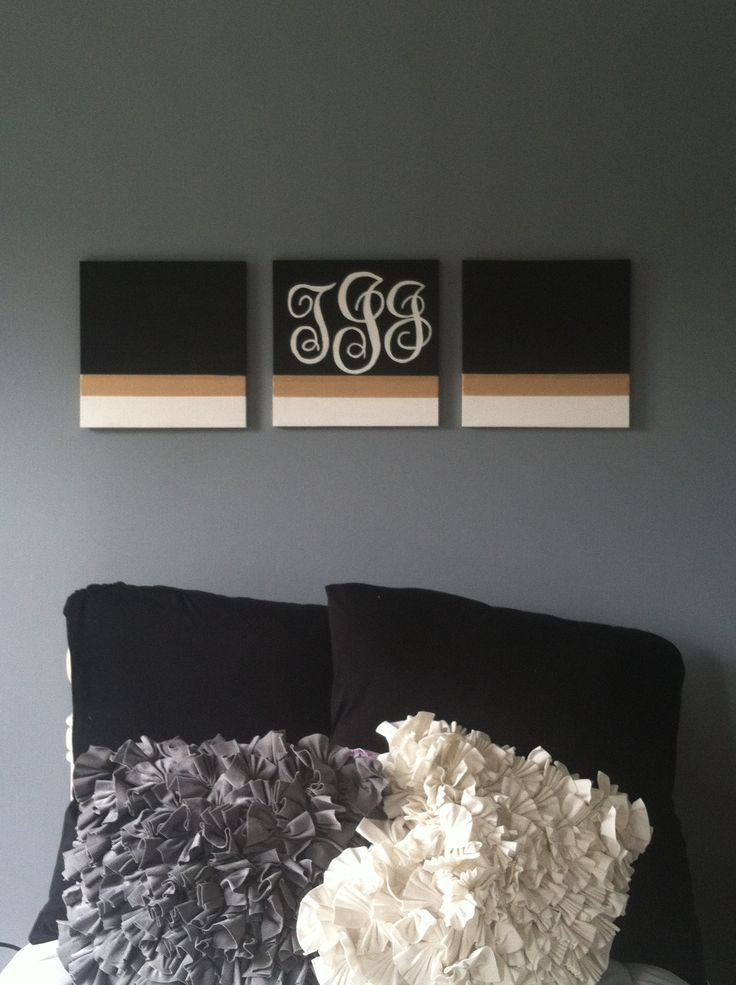 DIY canvas art with ribbon and monogram stencils
