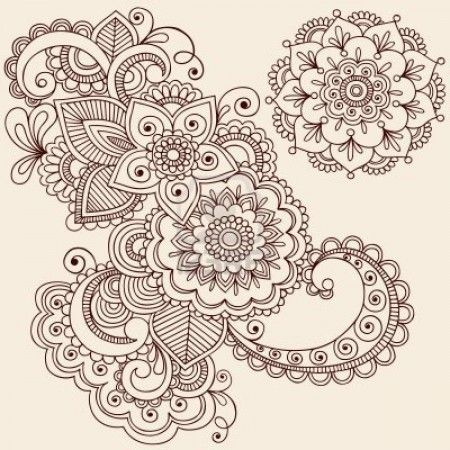 Hand Drawn Intricate Abstract Flowers And Mandala Mehndi Henna Tattoo Paisley Doodle Illustration
