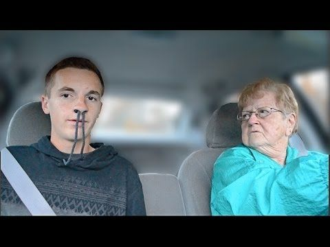 Telling My Grandma I Got A Girl Pregnant - YouTube. This is so funny, his grandma keeps driving on the wrong side of the road.