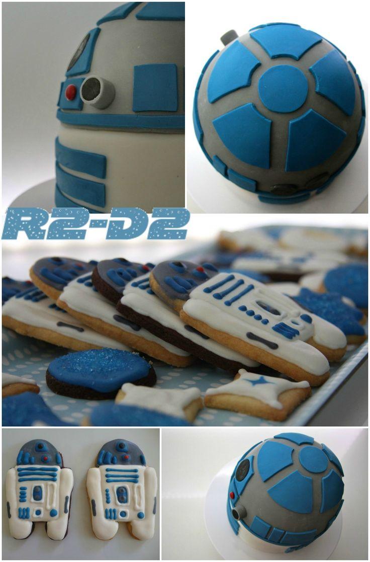 Star Wars themed Kids birthday party  R2-D2 cake and cookies Kindergeburtstag mit R2-D2 Kuchen und Keksenby kleinstyle