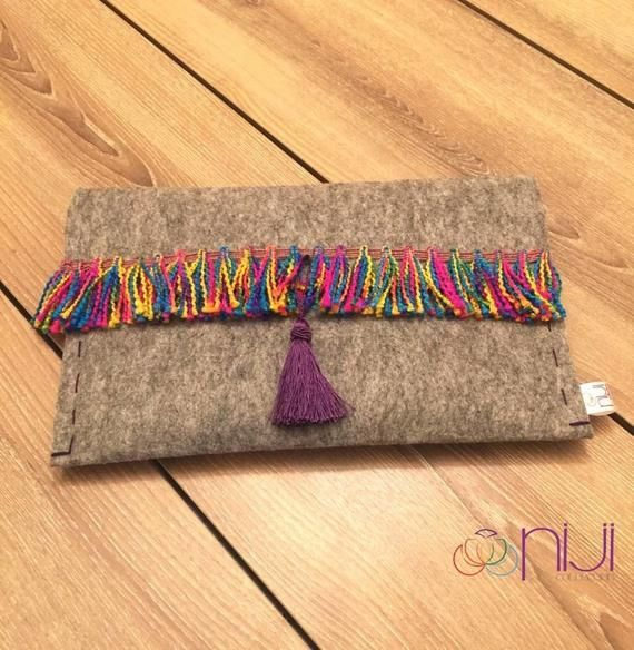 Grey &  Rainbow  Felt Clutch Bag, Hand Bag