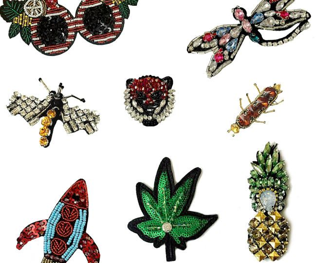 Sequin Patches Brooches Embroidered Cannabis Patches for Clothes Pineapple Dragonfly Patches for Jackets Bag Applique Fabric patch for jeans