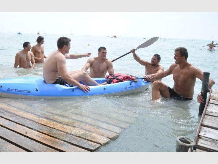 team building for MKB MVM Veszprém , Momir Ilic , Chema Rodriguez , Schuch Timuzsin , Mirsad Terzic , Renato Sulic , Nagy László , canoeing , Lake Balaton