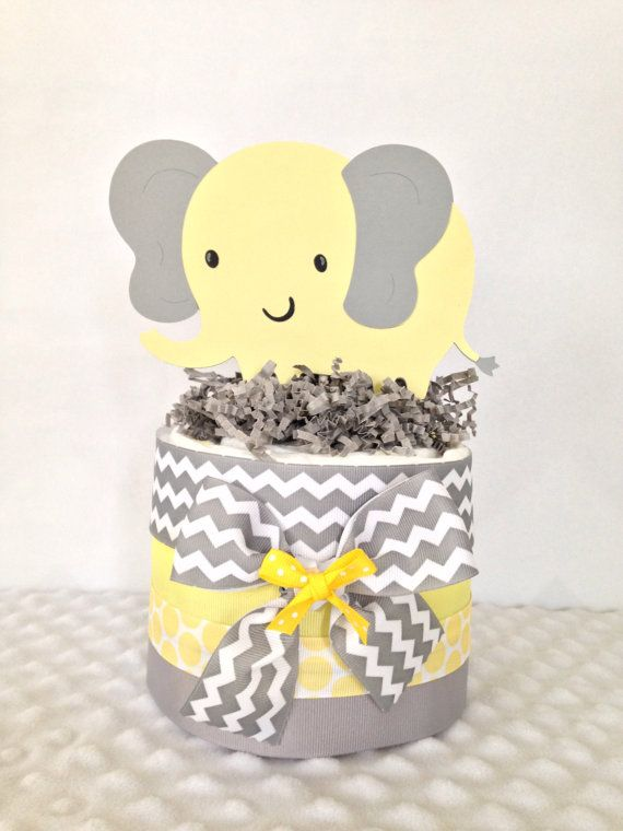 Mini Elephant Theme Baby Shower Diaper Cake In Gray And Yellow, Chevron  Gray And Yellow Elephant Baby Shower Centerpiece
