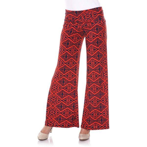 White Mark Women's Diamond Maze Palazzo Pants (Orange/Navy Palazzo... ($29) ❤ liked on Polyvore featuring pants, blue, blue pants, navy blue trousers, aztec palazzo pants, red wide leg pants and red pants