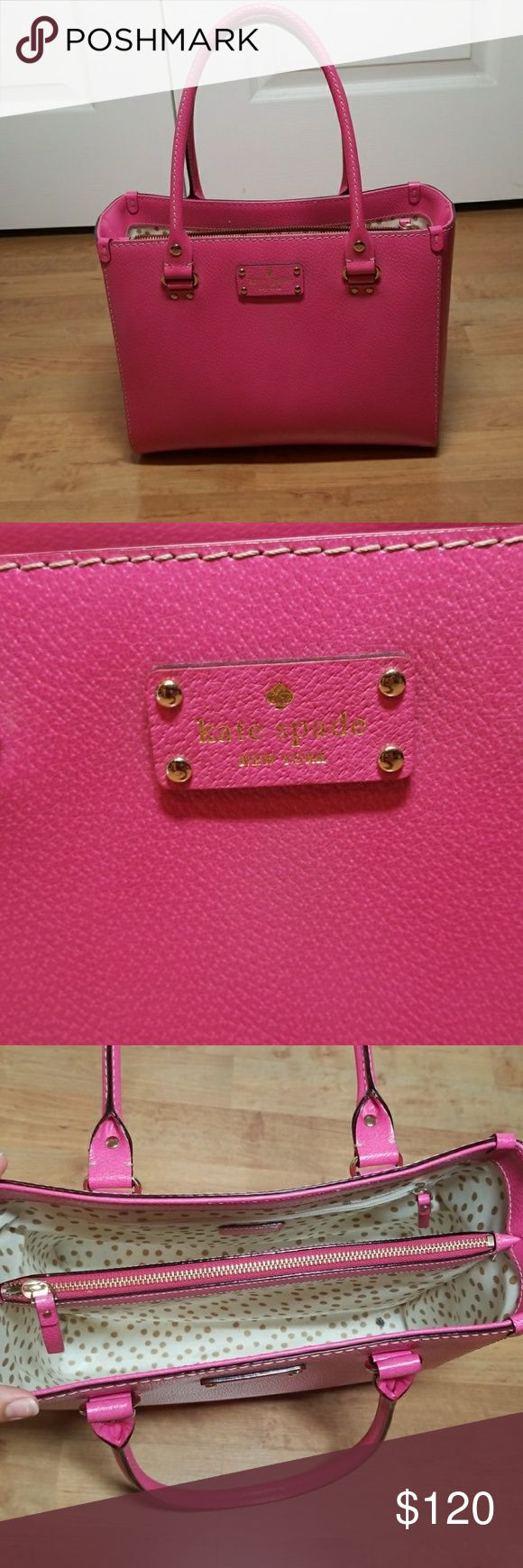"""Kate Spade Pink Purse Lightly used Kate Spade purse. One pocket on the side and one middle pocket.   Front 9x11.5"""" and bottom 4x11.5"""" kate spade Bags"""