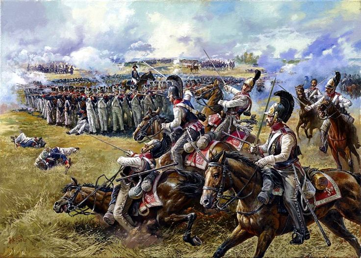 Battle of Borodino, 7 September 1812 - Attack by the Novgorod Cuirassiers against a French Square, by Aleksandr Yezhov.