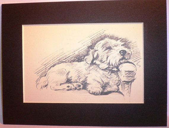 Vintage Mounted 1936 'Mac' Lucy Dawson Nap time by Hollysprints, £6.30