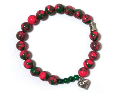 Pink and green Malachite beaded,bracelet