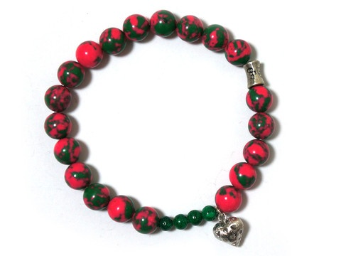 Pink and green Malachite beaded,bracelet