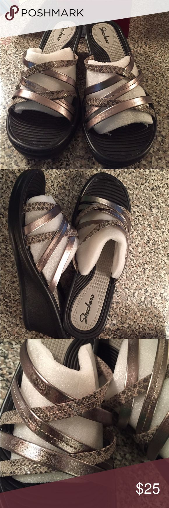 Skechers wedge sandals New in box. Silver in color. Skechers Shoes Sandals