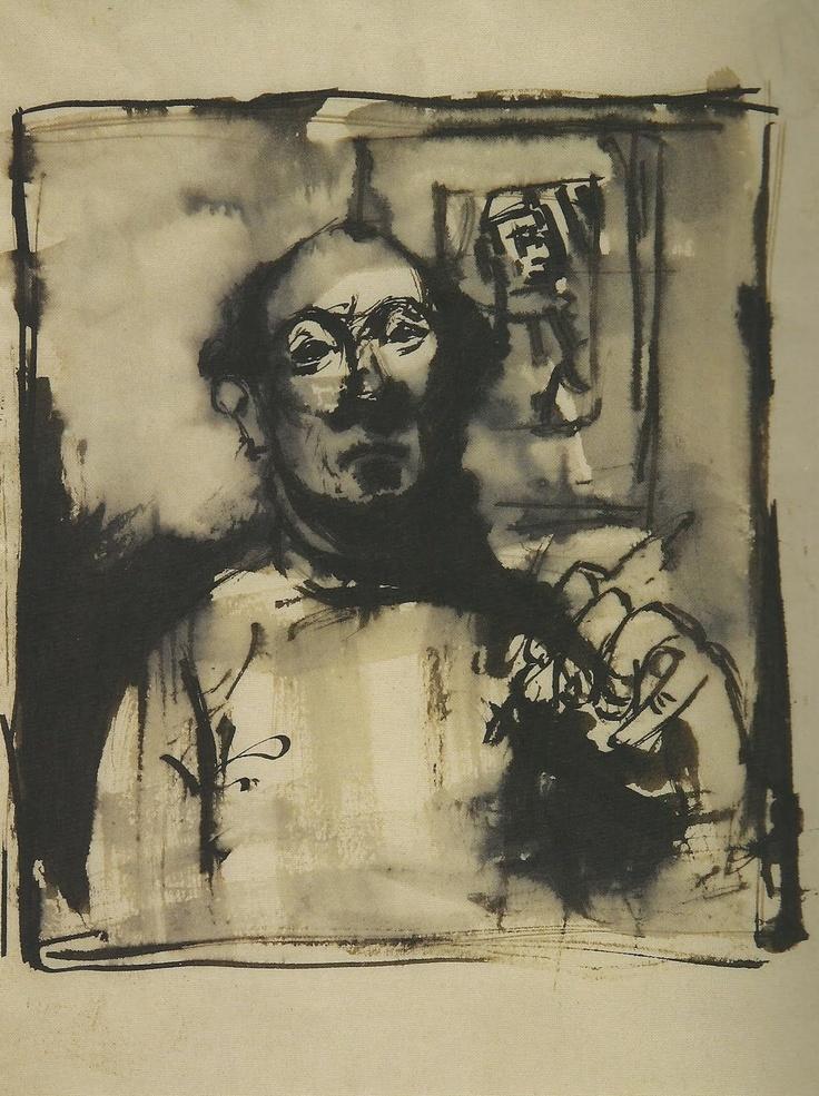 Josef Herman. Self Portrait in Mirror'. Graphite and ink on paper. 1944.