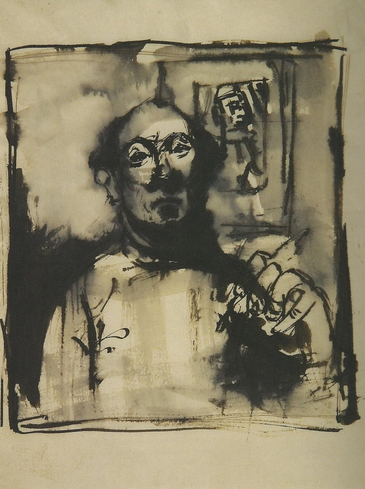 Josef Herman. Self Portrait in Mirror'. Graphite and ink on paper. 1944.