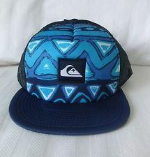 New QUIKSILVER Mens BOARDIES Flat Bill Trucker Hat, Snapback Cap, NWT