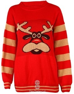 NOVELTY CHRISTMAS REINDEER JUMPER RUDOLPH RETRO SWEATER TOP S,M,L,XL | eBay