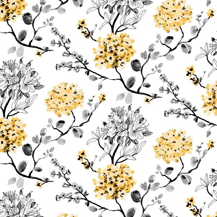 Melissa wallpaper, yellow. Design Tanja Orsjoki