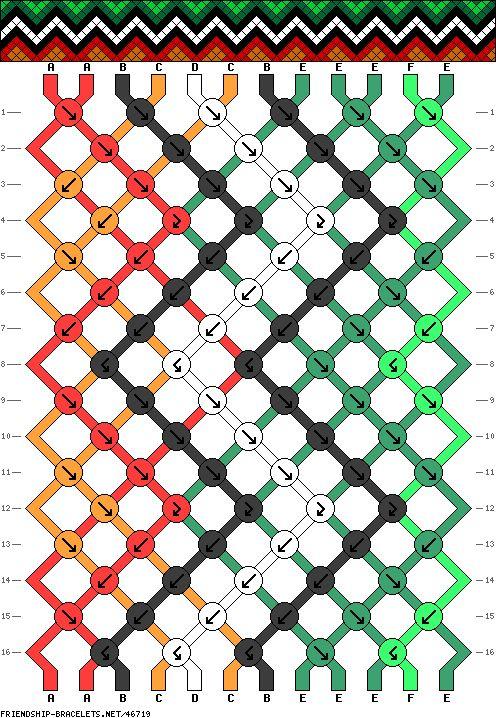 awesome friendship bracelet pattern, 6 color, 12 strand