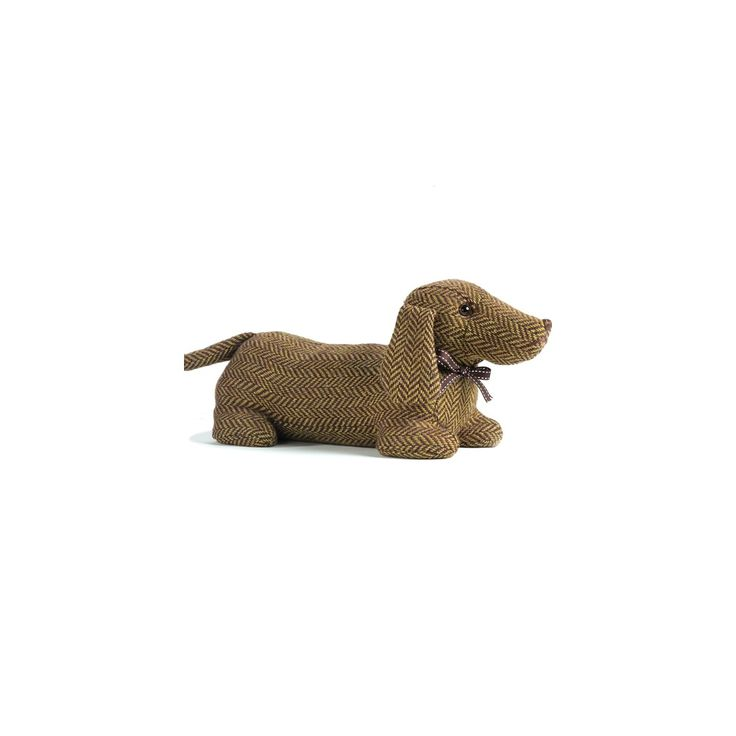 Ella the Dachshund (also nicknamed Sausage) Dog Animal doorstop by Dora Designs is a member of the County Dogs range of doorstops and draught excluders. She is made from brown and green herringbone fabric with brown ribbon detail.  She'llbe your loyal companionand guard your doorat night. Ella is part of theCounty Dogs Range, other breeds available include: Bull Dogs, Golden Labrador, Basset Hound, Terrier and Pug.  Each one of these fabulous County Dogs has some very intricate…