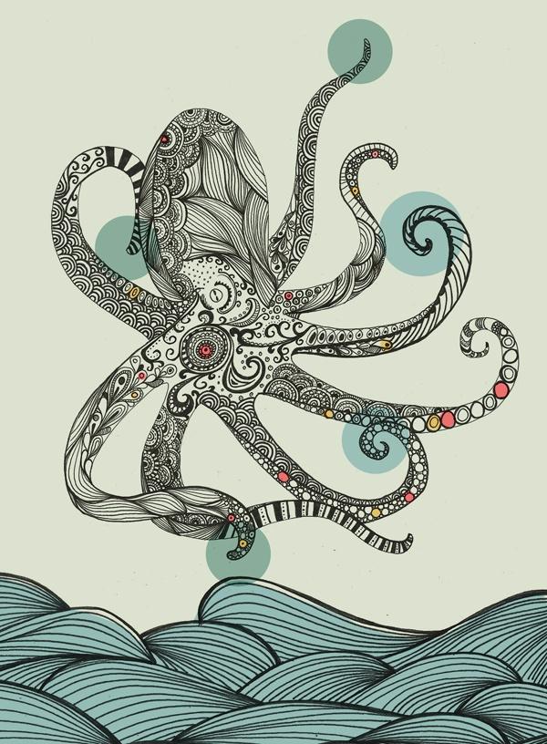 Rachel Wilson   Sea Creatures  : eight legged wonderfulness...I want this hanging in my bathroom!!
