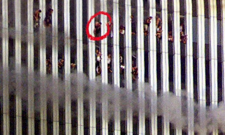This photograph was taken 15 minutes before the north tower of the World Trade Center collapsed. The figure the Rambouseks believe to be Luke is circled in red. Photograph by Jeff Christensen/Reuters Corbis. More images from Watching the World Change.