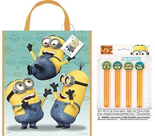 By Broward Toys Despicable Me (Minions) Bag 13 x 11 Reusable Party Tote Bag and Bubbles Favor Set @ niftywarehouse.com #NiftyWarehouse #Minions #DespicableMe #Minion #Movie #Movies #Kids