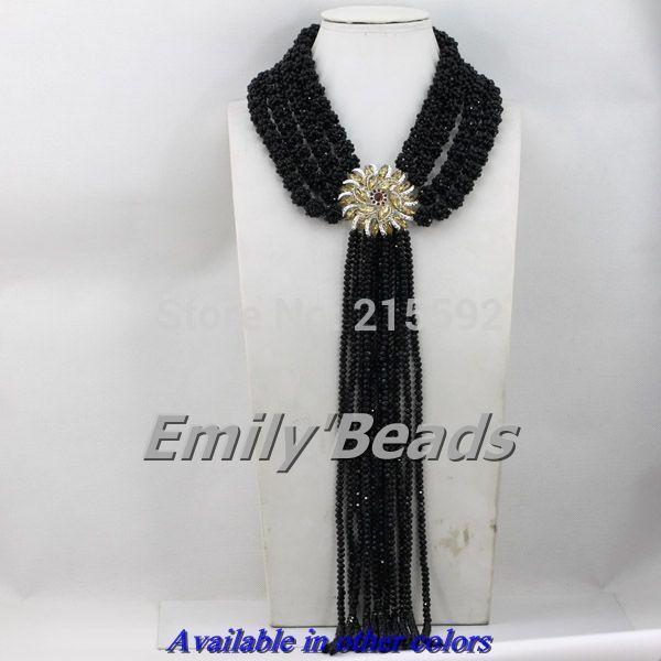 Нигерийские Свадебные Хрустальные Бусины Ожерелья, Ювелирные Изделия Костюма Африканских Ювелирные Изделия 4 Слоя Кристалл Шарики Ювелирных Изделий Бесплатная Доставка AES451