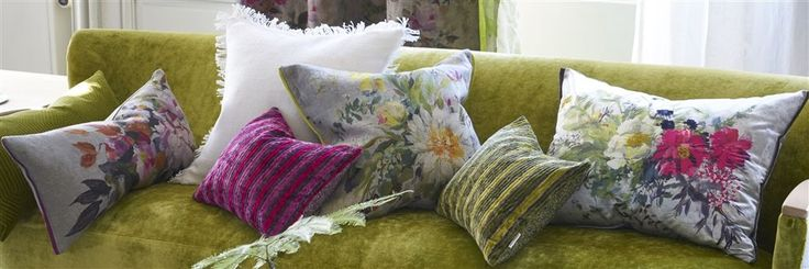 toss cushions in bright colours by designers guild
