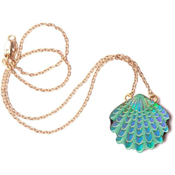 rosita bonita wave shell pendant . green/lilac holographic found on Polyvore