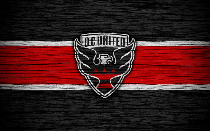 Download wallpapers DC United, 4k, MLS, wooden texture, Eastern Conference, football club, USA, DC United FC, soccer, logo, FC DC United