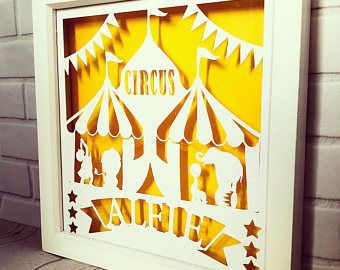 Circus is in town paper cut, name art, box frame, circus theme, circus nursery wall decor, 1st birthday gift, personalised, christening gift