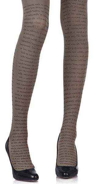 Love Text Print Tights Medium Grey & Black by #Zohara from #TrendyLegs