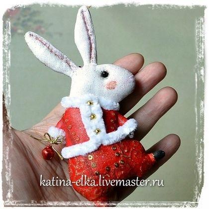 Кролик белый - авторская ручная работа,авторские украшения,авторские елочные игрушки
