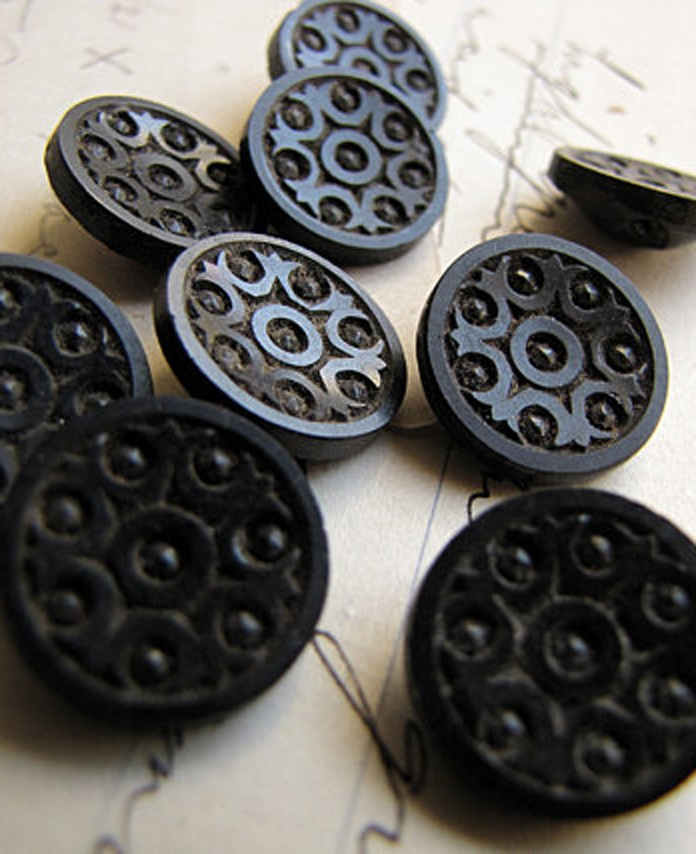 Antique black glass buttons with a geometric motif. #converttoblack