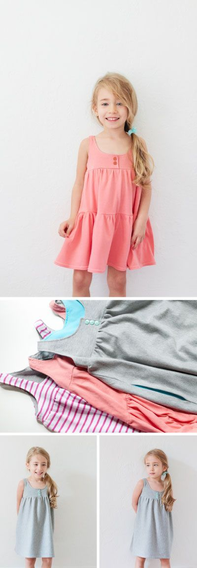 Free Toddler Girl Tank Dress Pattern and Tutorial  #sewing