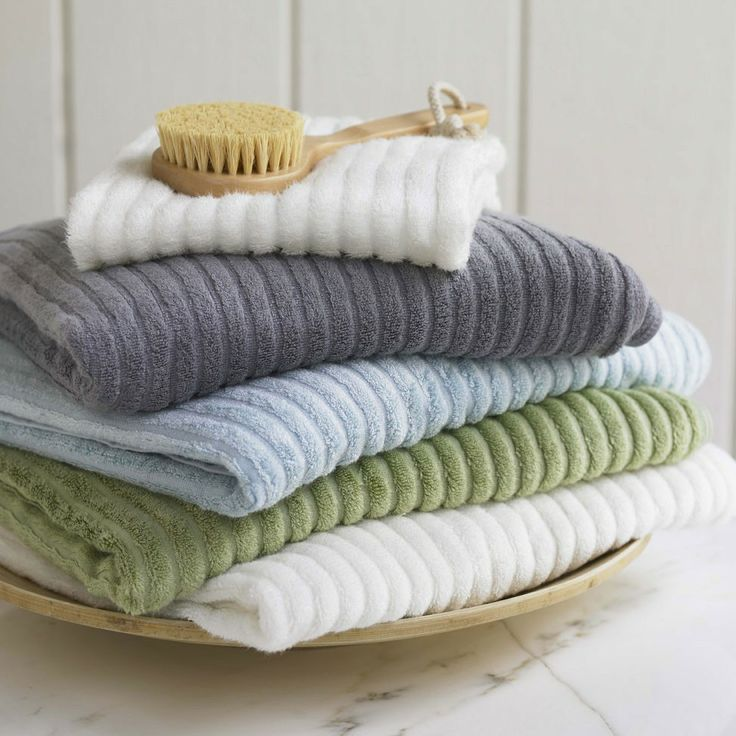 Bamboo weave ribbed towels