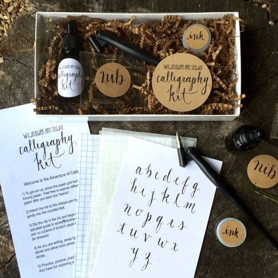 Calligraphy made simple! This kit includes everything you need to learn the art of modern calligraphy. Perfect for beginners! Kit from Etsy