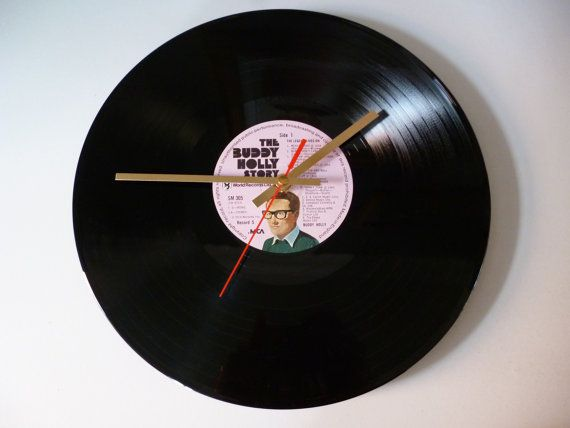 Buddy Holly Vinyl Record Clock LP Original 1950s rock n roll album Recycled record clock Cool stuff for man caves Gift for music lovers