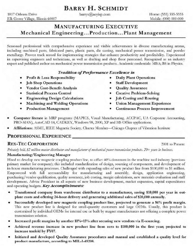 13 Sample Resume For Project Manager In Manufacturing | Riez Sample Resumes