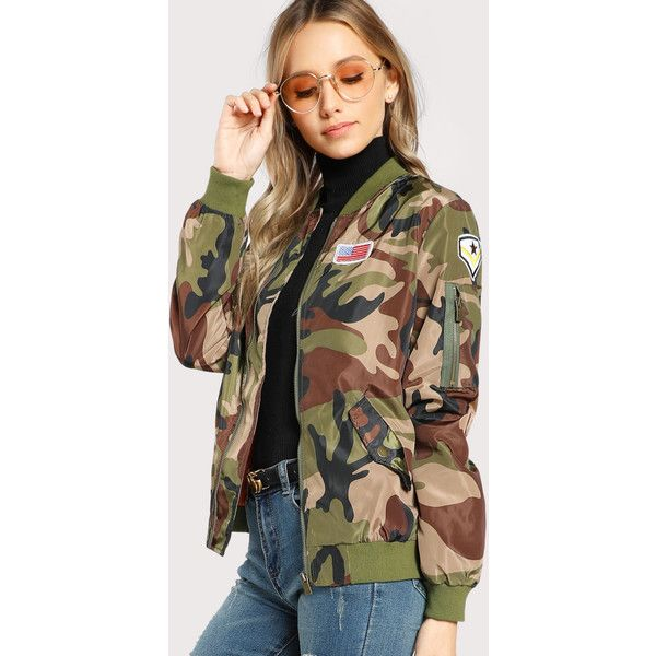 Patch Detail Camo Bomber Jacket ❤ liked on Polyvore featuring outerwear, jackets, bomber jackets, bomber style jacket, camoflauge jacket, flight jacket and camo print bomber jacket