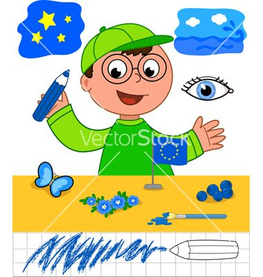 Color game boy with blue objects vector