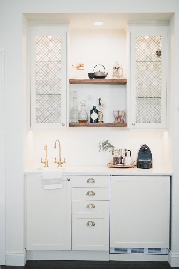 The Reveal: Our Wet Bar/Coffee Bar - Daly Digs - Amethyst Home - Coffee Stations Kitchen Wet Bar, Kitchen Bar Design, Coffee Bars In Kitchen, Farmhouse Kitchen Island, Coffee Bar Home, Home Coffee Stations, Big Kitchen, Coffee Bar Built In, Wet Bar Sink